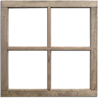 Salvaged 4-Pane Wood Window Frame-Weathered Wood 28