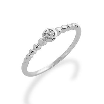 Gemondo 925 Sterling Silver 0.02ct Diamond Stackable Birthstone Ring