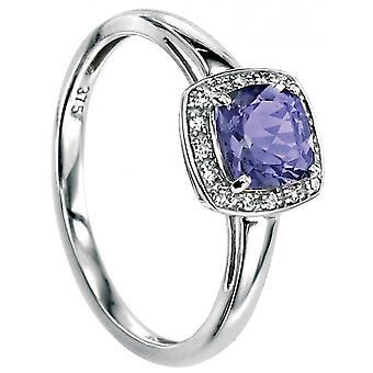 9 ct gull Peridot og Diamond Ring 0.064 karat
