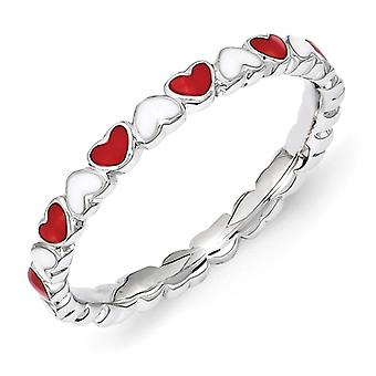 2.5mm Sterling Silver Stackable Expressions Red and White Enamel Heart Ring - Ring Size: 5 to 10