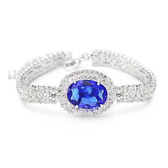 Platinum Plated Multi Chain Blue Cubic Zirconia Bracelet, 18cm