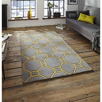 Nobel huis 4338 grijs geel rechthoek tapijten Plain/bijna gewoon tapijten