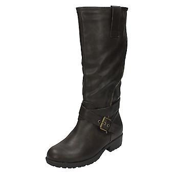 Ladies Spot On Zip Back Biker Boots