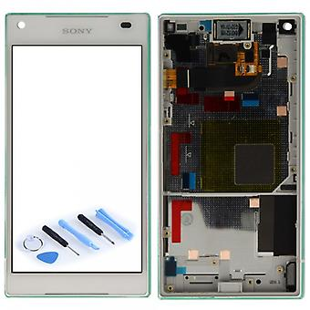 Sony display LCD complete unit with frame for Xperia Z5 compact E5803 E5823 white