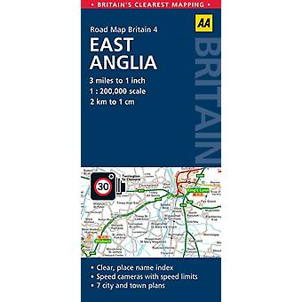 Road Map East Anglia (AA Road Map Series - 4) (AA Road Map Britain) (Map) by Aa Publishing
