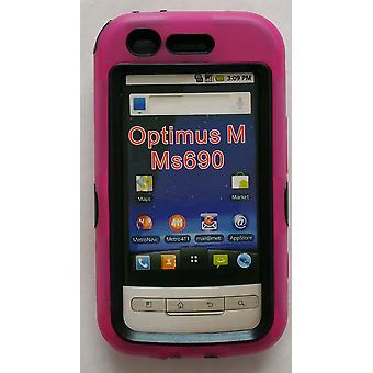 Dual Snap-on Hard Case for LG Optimus M MS690 (Pink/Black)