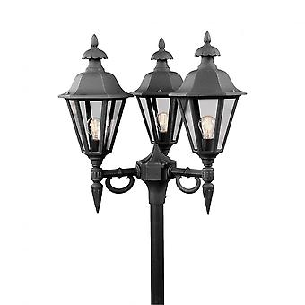 Konstsmide Pallas Black Driveway 3 Lantern Outdoor Pole Light