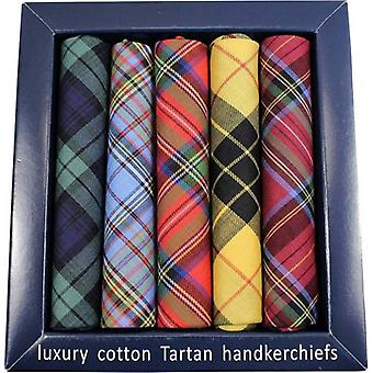 David Van Hagen Luxury Cotton Taratan 5 Pack Handkerchiefs - Multi-colour