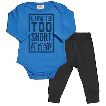 Spoilt Rotten Life Too Short For A Nap Babygrow & Jersey Trousers Outfit Set