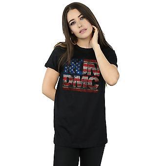 Run DMC Women's US Flag Logo Boyfriend Fit T-Shirt
