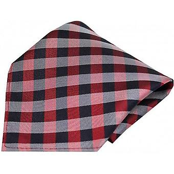 David Van Hagen Checked Silk Pocket Square - Red