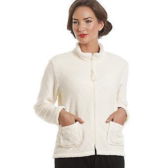 Camille Ivory Supersoft Zip Up Bed Jacket