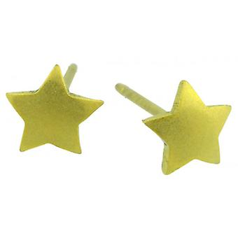 Ti2 Titanium Geometric Star Stud Earrings - Lemon Yellow