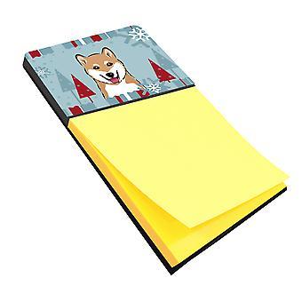 Carolines Treasures  BB1721SN Winter Holiday Shiba Inu Sticky Note Holder