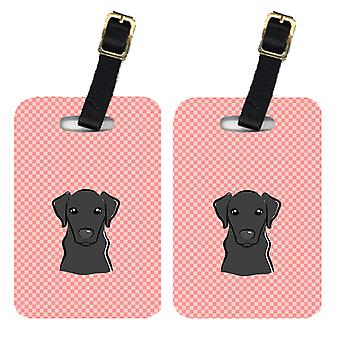 Pair of Checkerboard Pink Black Labrador Luggage Tags