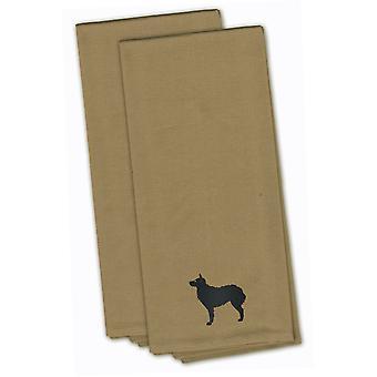 Croatian Sheepdog Tan Embroidered Kitchen Towel Set of 2