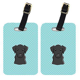 Pair of Checkerboard Blue Black Labrador Luggage Tags