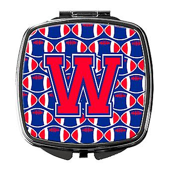 Letter W Football Harvard Crimson and Yale Blue Compact Mirror
