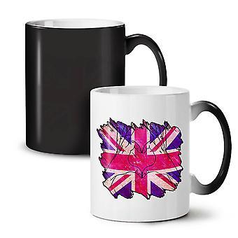 United Kingdom Heart NEW Black Colour Changing Tea Coffee Ceramic Mug 11 oz | Wellcoda