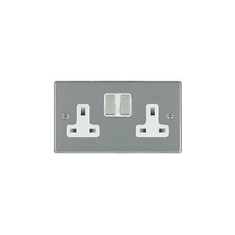 Hamilton Litestat Hartland satinato inossidabile 2G 13A DP commutato Socket SS/WH
