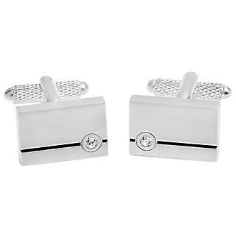 David Van Hagen Shiny Rectangle Enamel Stripe Crystal Cufflinks - Silver/Clear/Black