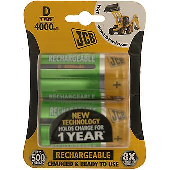 2 x JCB Pre-Charged D Batteries 4000MAH Rechargeable High Capacity Ready To Use