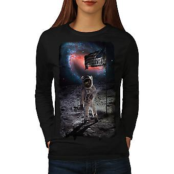 Astronaut Moon USA Space Women BlackLong Sleeve T-shirt | Wellcoda