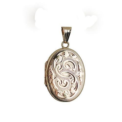9ct Gold 26x19mm flat oval hand engraved Locket