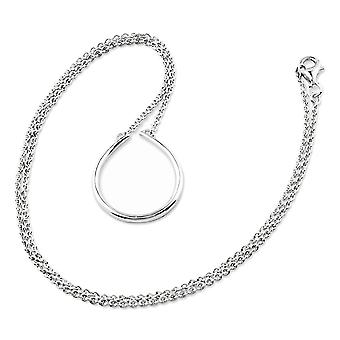 925 Sterling Silver Teardrop Charm Holder Necklace