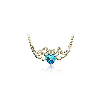 Womens Sky Blue & Gold Love Pendant Necklace Angel Wings Crystal Stones