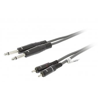 Sweex Stereo Audio Cable 2 x 6.35 mm male to 2 x RCA male 5.0 m dark grey