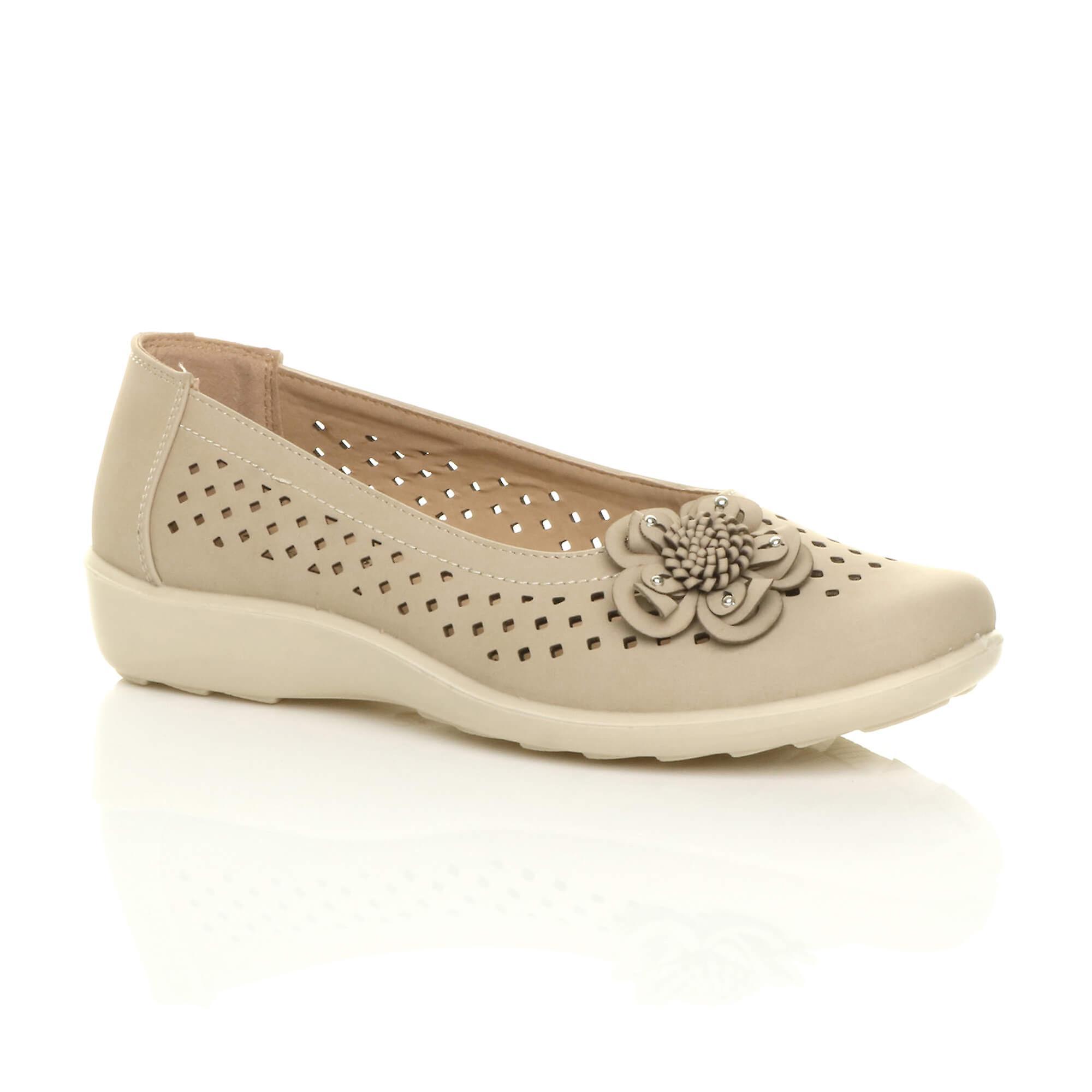 Ajvani womens flat grip sole padded cushioned comfort shoes flower summer ballerinas