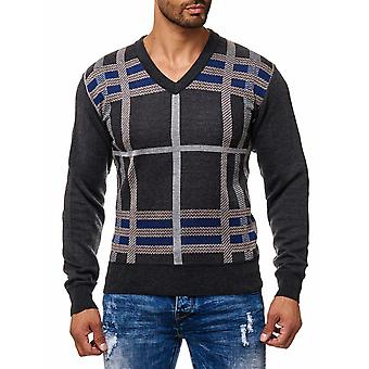 Men's pullover fine knitted V-neck longsleeve with pattern