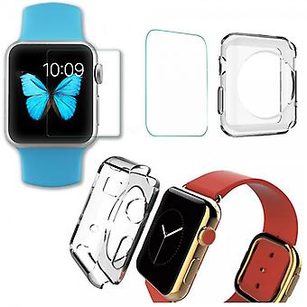 Tempered glass H9 + silicone case transparent for Apple Watch 38mm