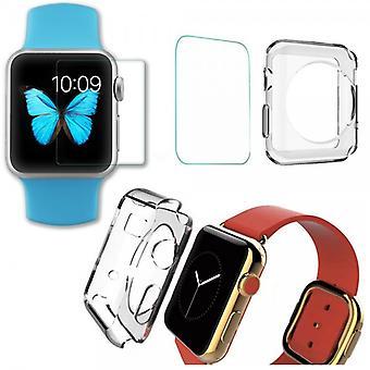 Gehard glas/m H9 + siliconen case transparant voor Apple Watch 38mm
