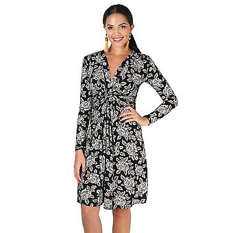 KRISP Long Sleeve Rose Print Knot Dress