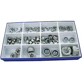 TOOLCRAFT DIN 985 - A2 161 piece DIN 985 lock nut set Content 161 pc(s) 2f. Delivery includes 40 x M3, 30 x M4, 25 x M5, 20 x M6, 16 x M8, 10 each x M10/M12, 2