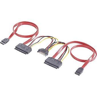 ハード ドライブ Y ケーブル [2 x SATA ソケット 7 ピン SATA 電源プラグ - 2 x SATA ソケット 2 ピン]