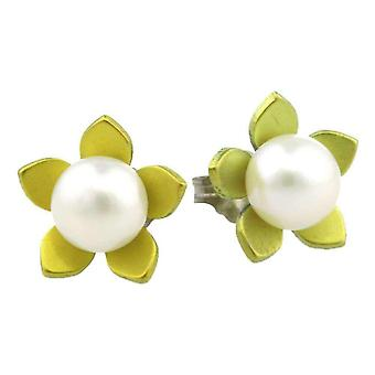 Ti2 Titanium Large Flower and Pearl Stud Earrings - Lemon Yellow
