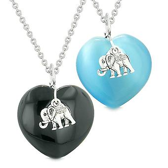 Lucky Elephant Charms Liebe Paare Beste Freunde Amulette Achat himmelblau simuliert Katzen Auge Halsketten