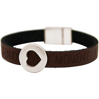 Gemshine - ladies - bracelet - heart - love - WISHES - Brown dark - magnetic closure