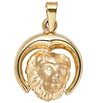 Lion pendant gold pendant star sign Leo 375 partially frosted gold yellow gold