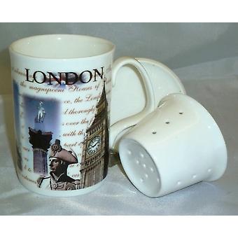 English Bone China Mug, Lid and Infuser London Scenes