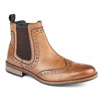 Mens Leather Upper Slip On Chelsea Twin Gusset Brogues Ankle Boots Shoes