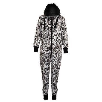 Ladies Hooded American Stars & Stripes Leopard Print Women's Jumpsuit All In One
