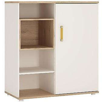 Furniture To Go 4 Kids Low White Cabinet with Sliding Door - Wooden
