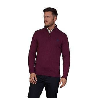 Stickad bomull Cashmere 1/4 Zip - Burgundy