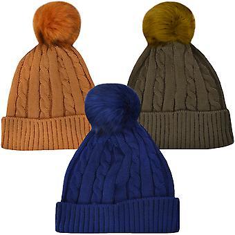 ProClimate レディース冬の分厚いニット帽フェイクファー Pom Pom へま