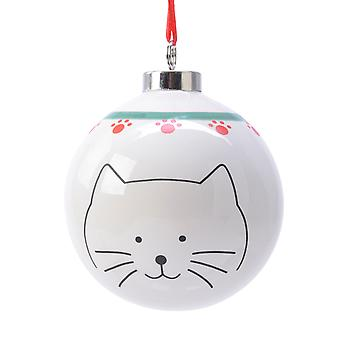 TRIXES Cat with Paws Xmas Ceramic Ornament Cream Red and Green