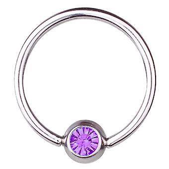 BCR Titanium Piercing, Ball Closure Ring 1,6mm, SWAROVSKI ELEMENTS Purple | 8-16